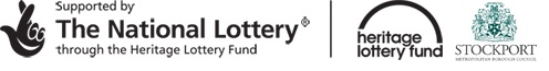 Sponsor Logos Heritage Lottery Fund and Stockport Metroplolitan Borough Council